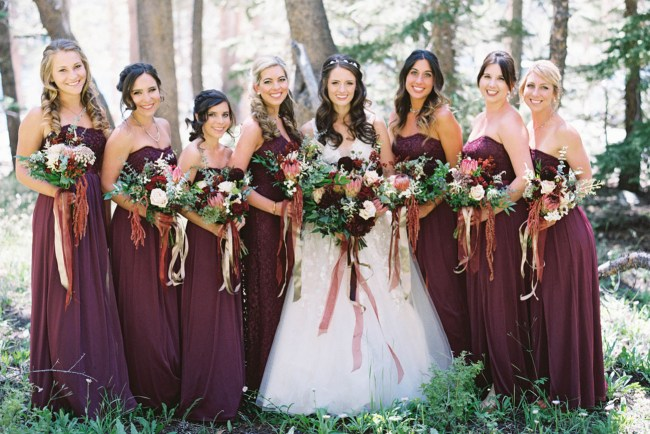 maroon bridesmaids