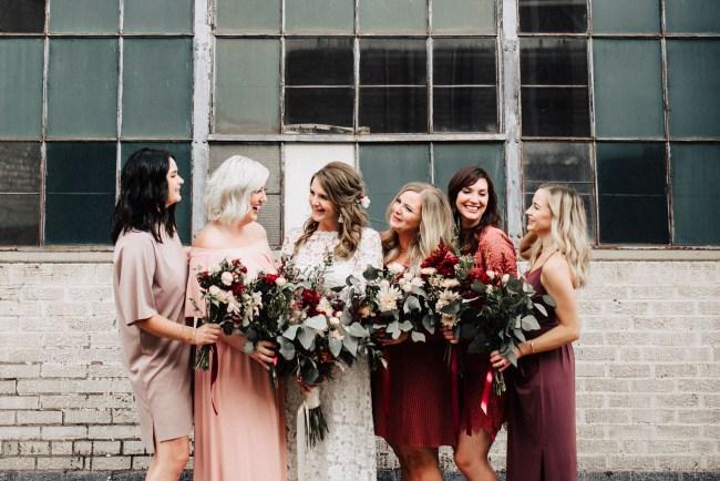 red bridesmaids