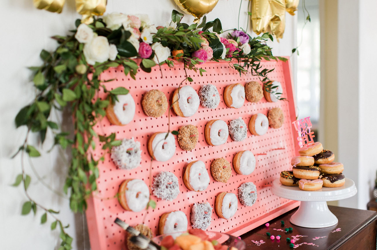 bridal shower with a donut wall