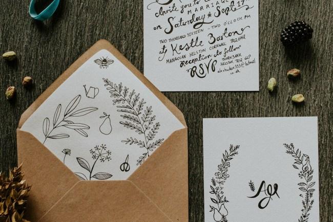 plant illustrated invitation