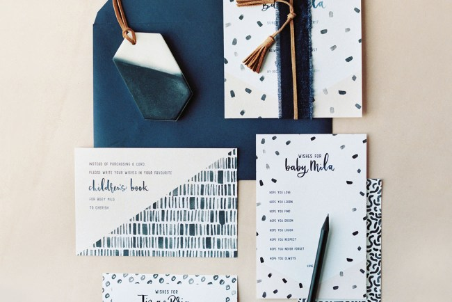 blue inspired invitation