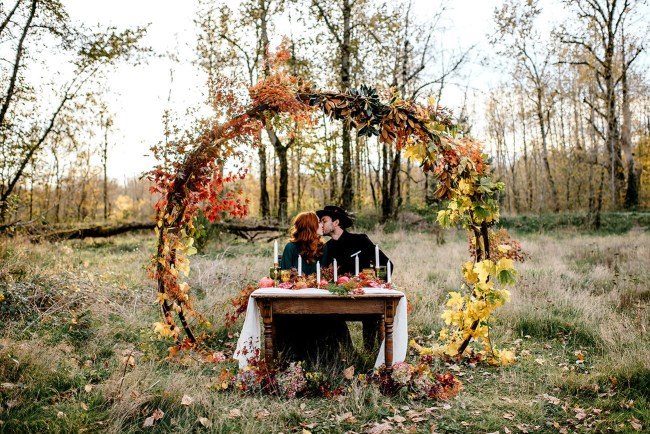 Vintage autumn inspired elopement