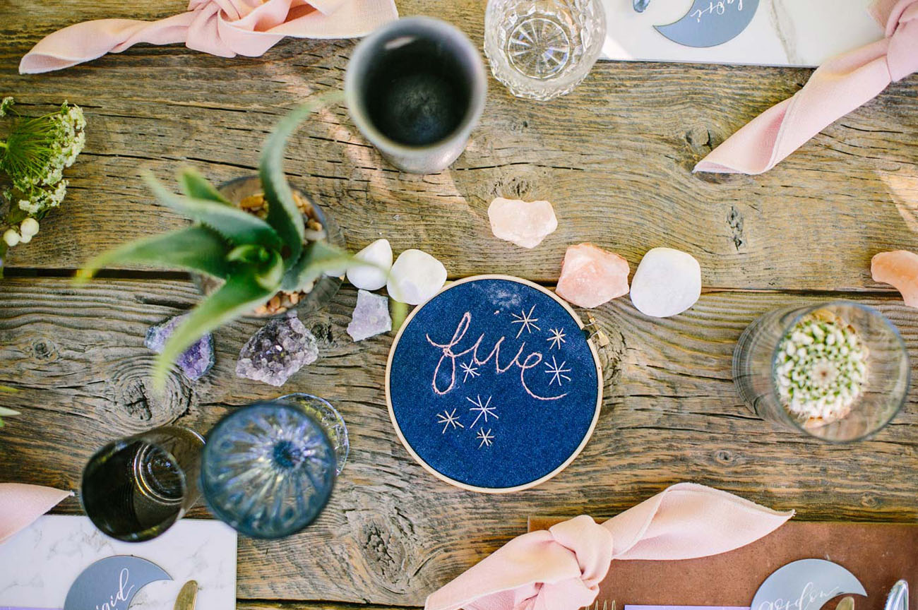 embroidered table number