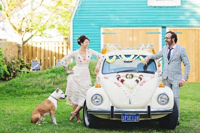 Floral decorated VW bug