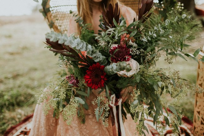 red boho bouquet