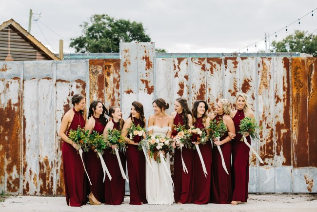 burgundy bridesmaids