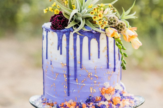 purple drip cake