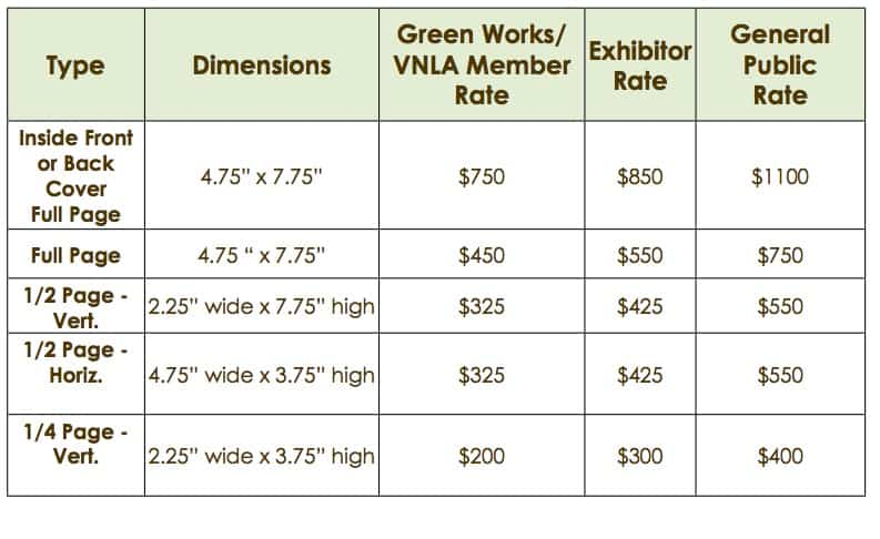 flower-show-rate-chart \u2013 Green Works, the Vermont Nursery and - Rate Chart