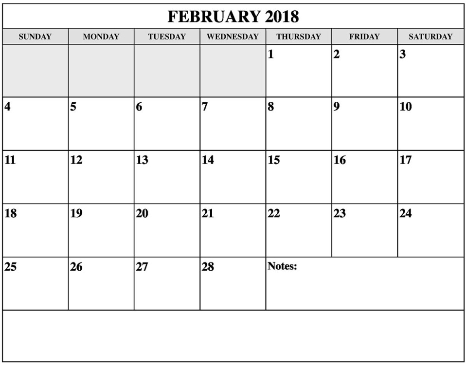 2018 February Calendar Template FREE Pictures on GreePX