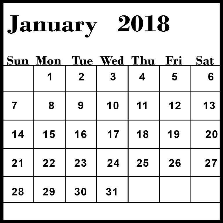 January 2018 Blank Calendar FREE Pictures on GreePX