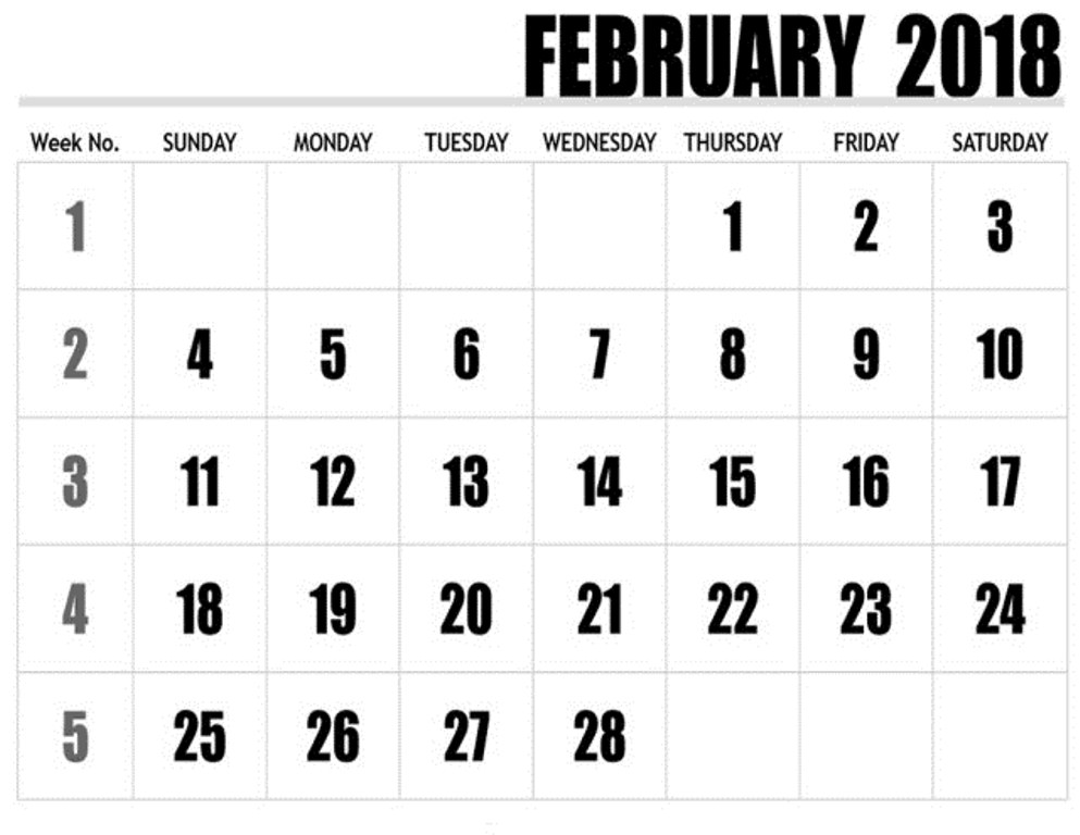 Free Printable February 2018 Calendar FREE Pictures on GreePX