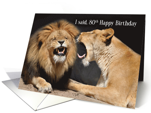 Birthday Card For Husband 80th Birthday Card For Husband Funny Lion And Lioness
