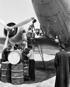 Hand fueling or adding oil to a CNAC DC-3 or C-47