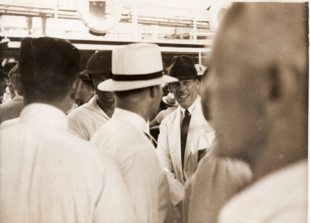 Bixby on the dock, bidding goodbye to his wife and daughters, Aug 17, 1937 (Shirley Wilke Mosley collection)