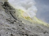 sulphur vent near the summit