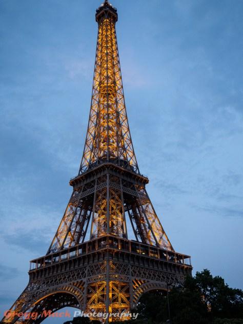 The Eiffel Tower at dusk