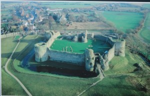 picture of Pevensey castle from the air