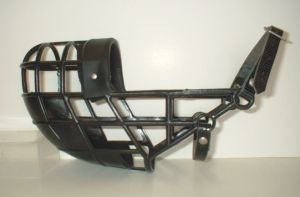 a typical basket muzzle