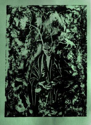 Forest Figure Linoprint, by Paul Watson