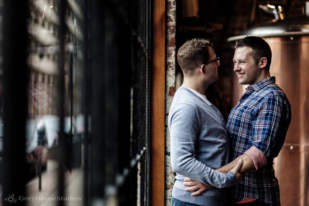 Chris + Dan's Edgerton Park + Bar Restaurant Engagement photography in New Haven, CT