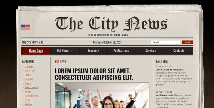 Newspaper - Free PSD (photoshop) Template Gridgum