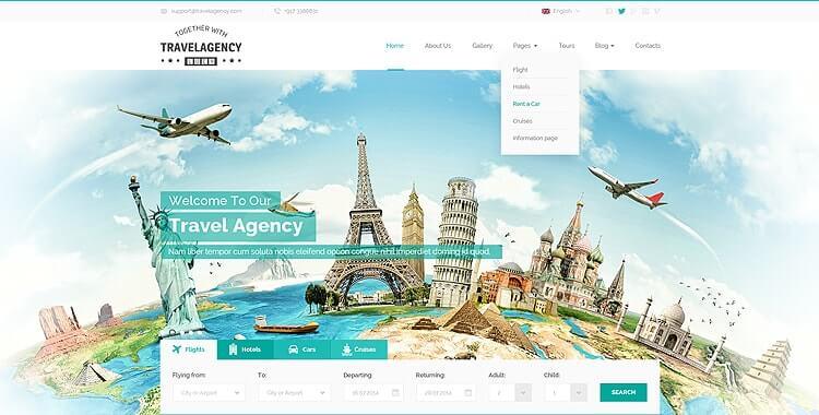 Travel Agency WordPress Theme, WordPress Tourism Theme Gridgum - wordpress travel themes