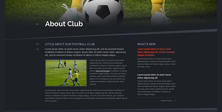 Soccer bootstrap theme, football website templates Gridgum