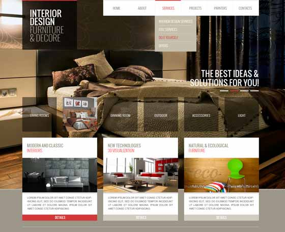 Interior design website templates Gridgum - interior design web template