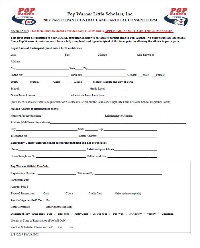 2019 Player Contract and Physical Forms Griffith Pop Warner