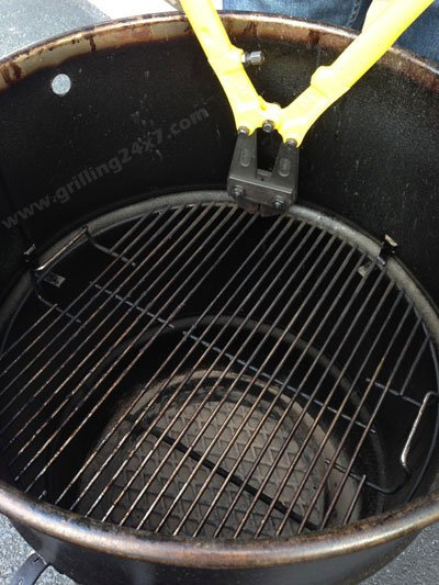 Pit Barrel Cooker Grate Modification - Cook flat and hang meat at the same time