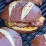 Grilled Ham Steak and Cheese on Pretzel Rolls