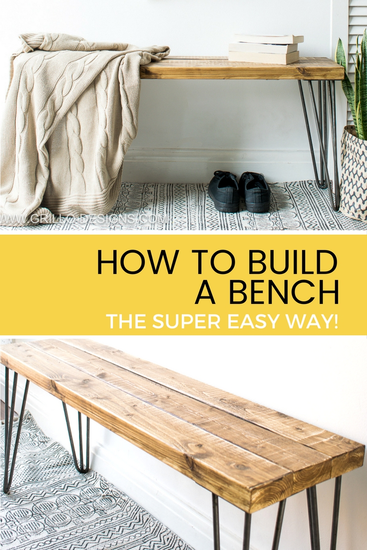Diy Desk With Hairpin Legs Build A Bench The Super Easy Way Grillo Designs