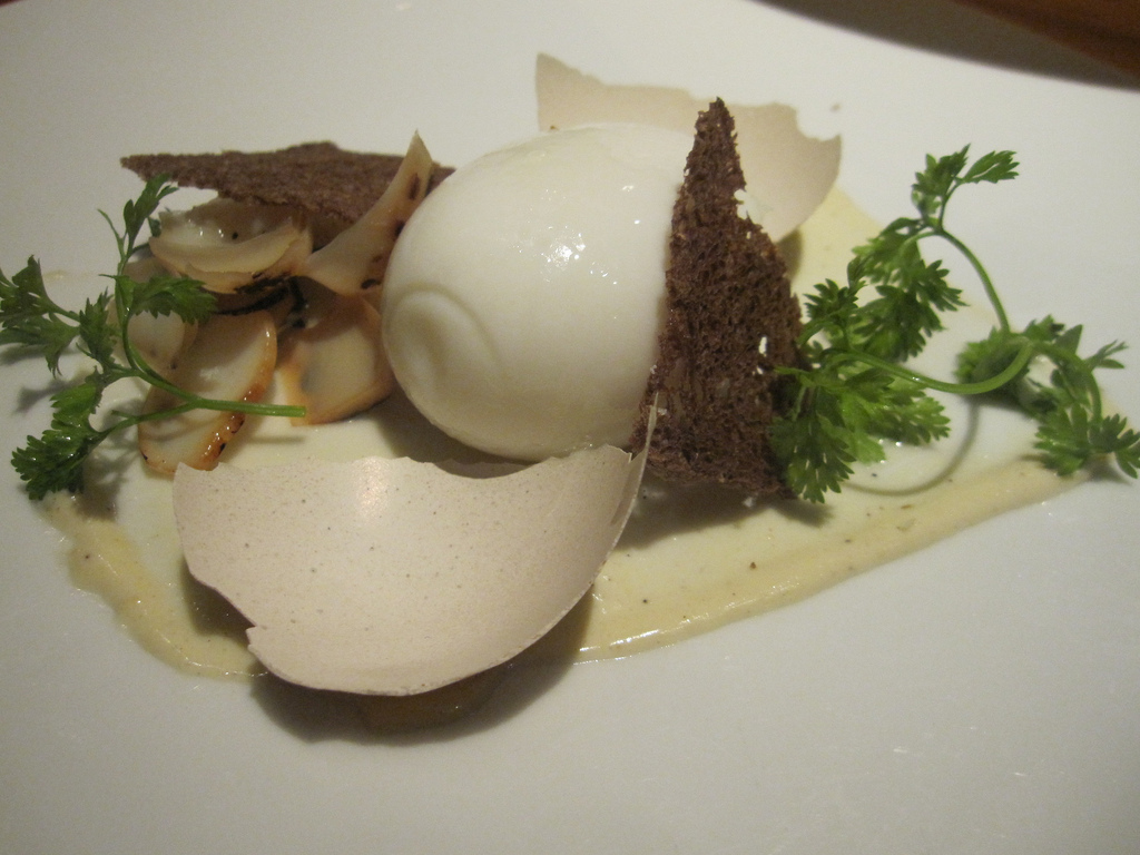 Poached egg in the shell, pumpernickel, caesar dressing, bean sprouts Assyrtiko Koutsoyiannopoulos 2009 (Santorini, Greece)