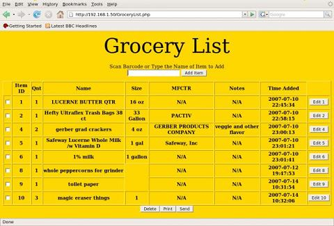 Grocery List - Project Home Page - example grocery list