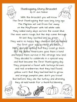 Thanksgiving Story Bracelet Poem