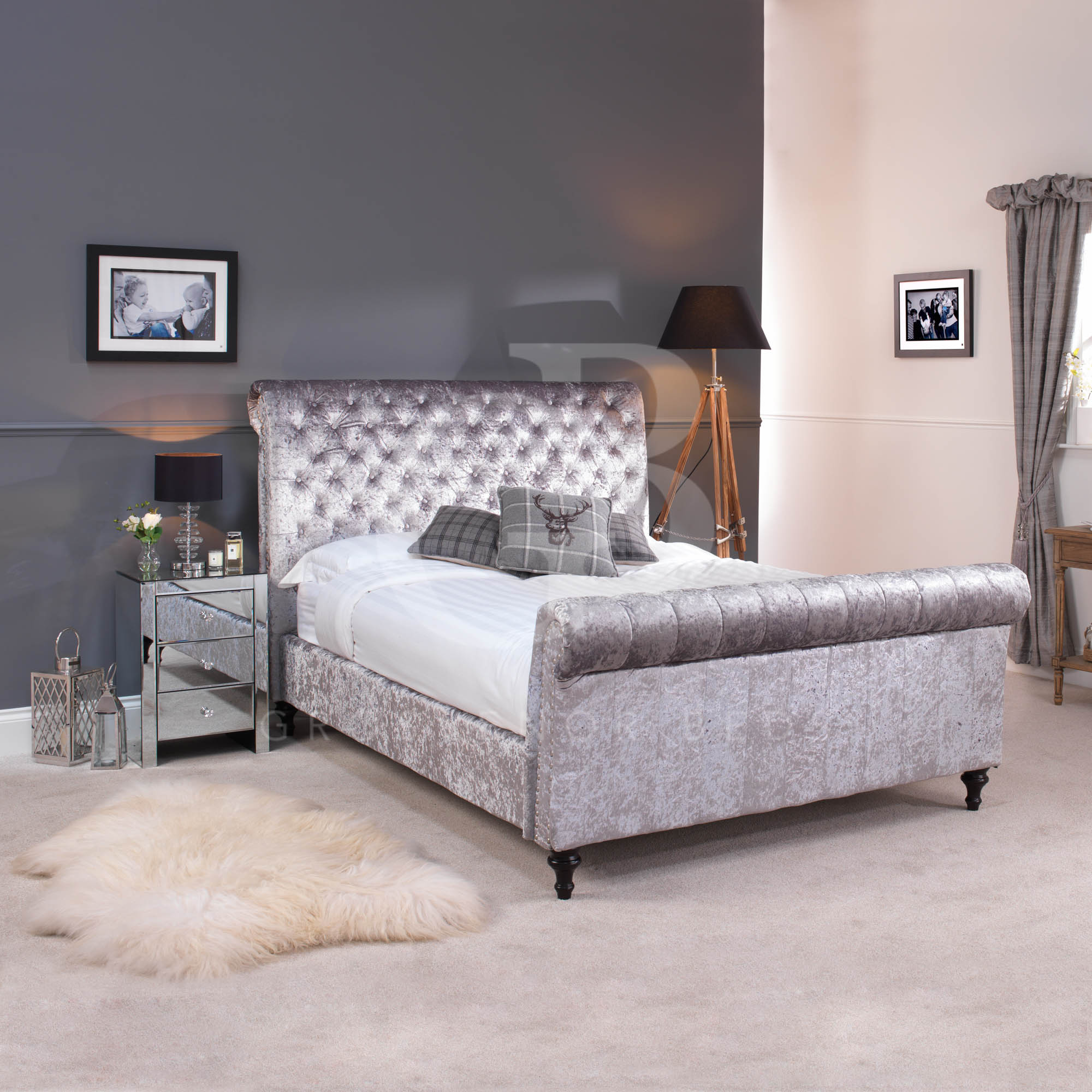 Silver Grey Bedroom Ideas Crushed Velvet Silver Grey Chesterfield Bed In Double