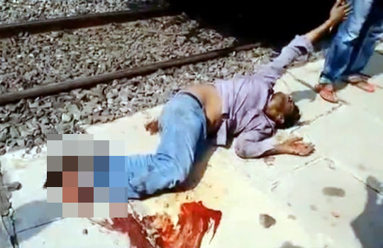 【グロ動画】ギッリギリ列車に轢かれた男の末路・・・