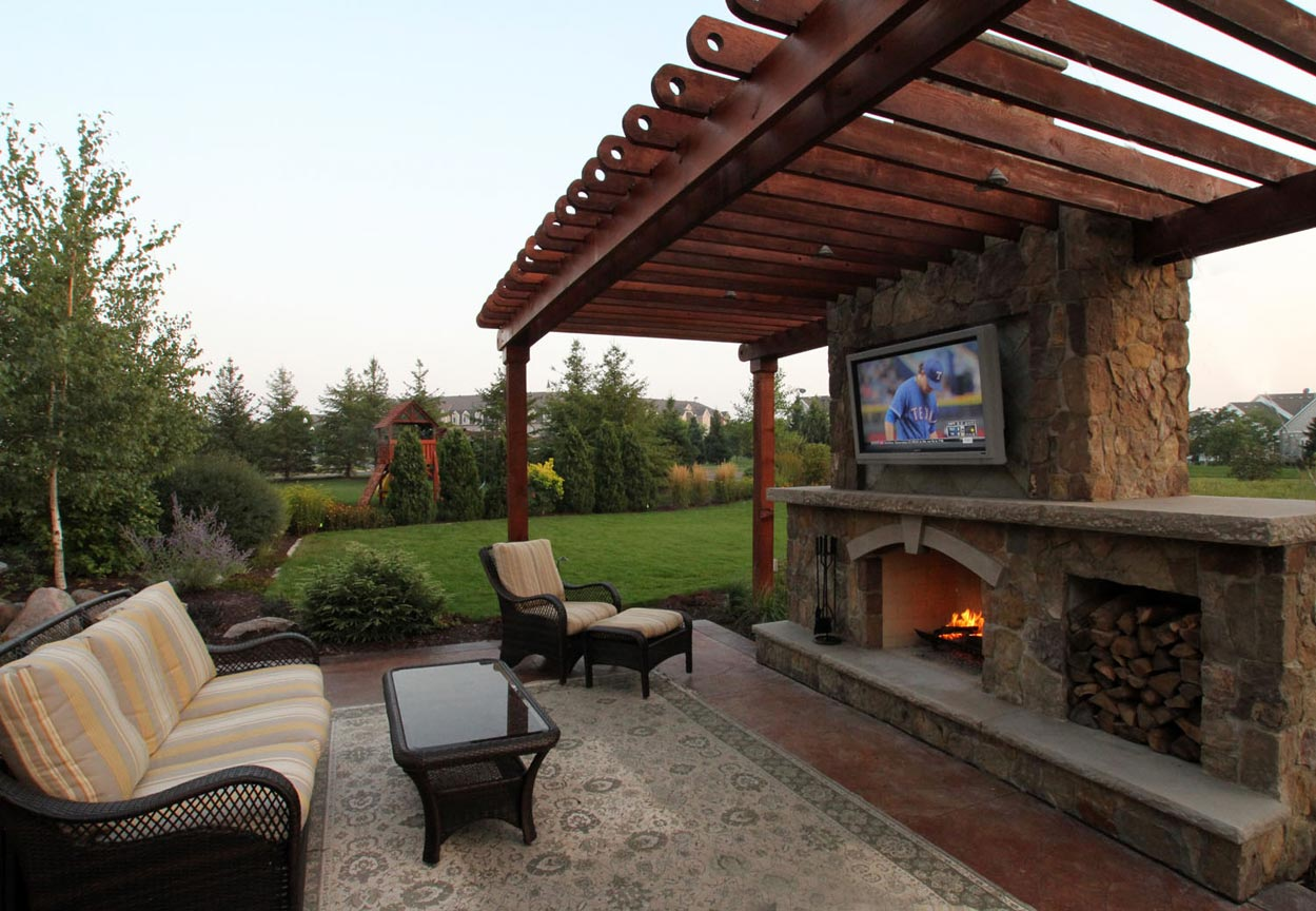 Fireplace And Patio Rustic Outdoor Living Room Ground One