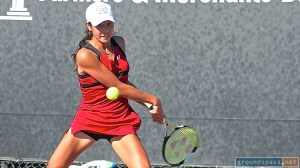 Ena Shibahara winds up her backhand during the final at the 2013 La Habra Open Tennis Championships.