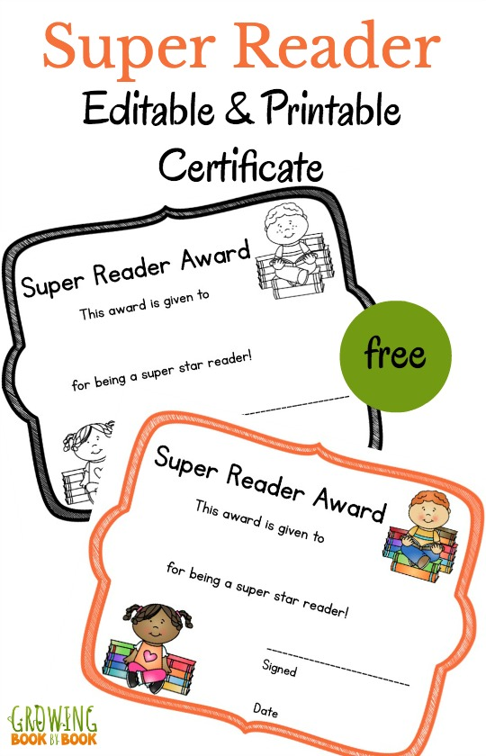 Literacy Printable Certificates that You Can Edit!