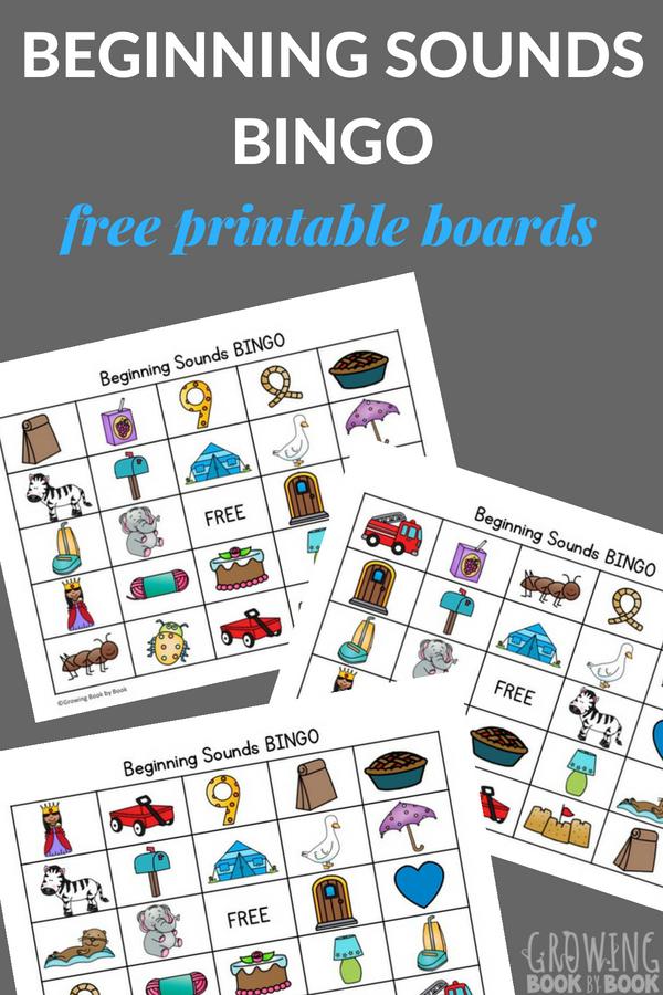 Printable Beginning Sounds Bingo Boards