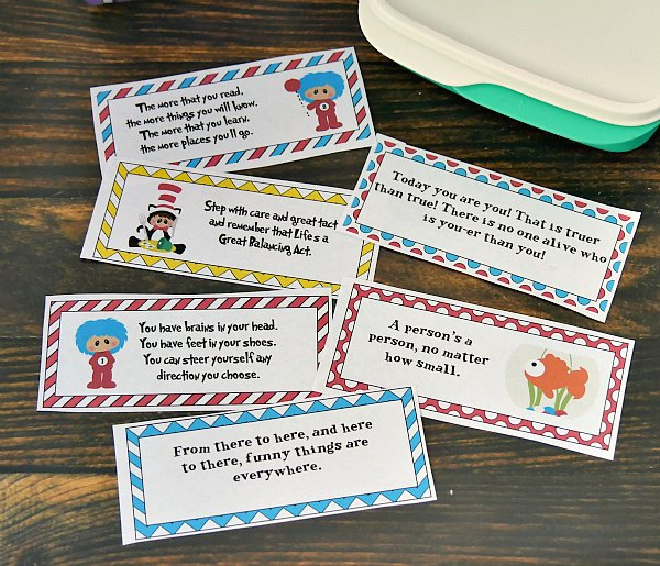 Dr Seuss Lunchbox Notes for Kids