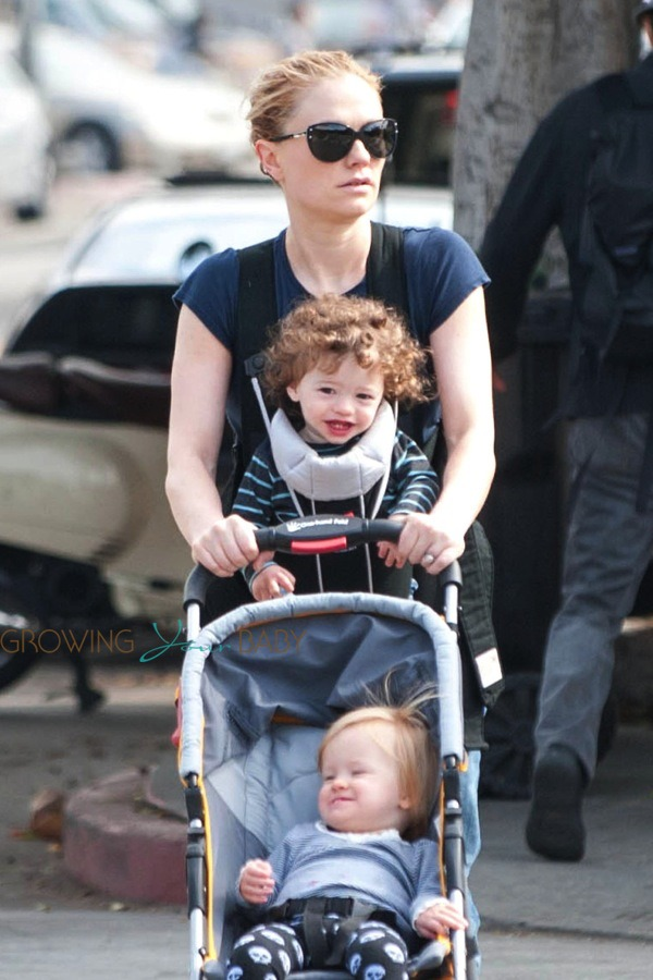 Stroller With The Bassinet Anna Paquin Steps Out With Her Twins Poppy Charlie On