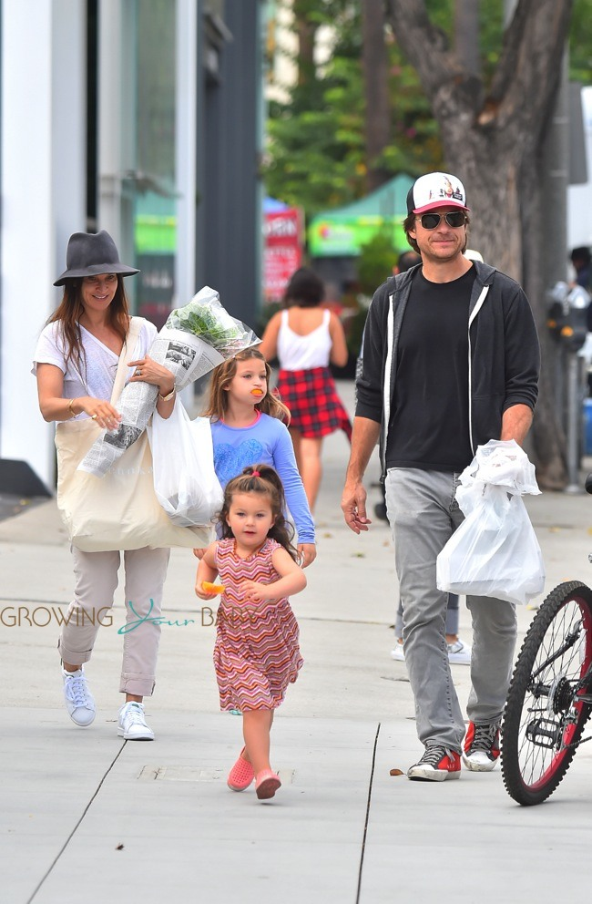 Stroller With The Bassinet Jason Bateman And Wife Amanda Anka Out In La With Their