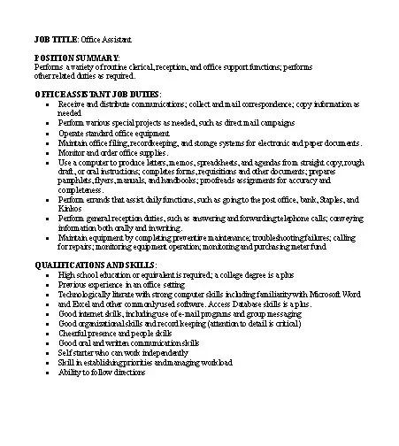 Free Job Descriptions Samples