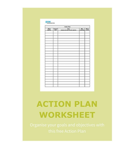 Organise your goals and objectives with this free Action Plan - Grow - action plan work sheet
