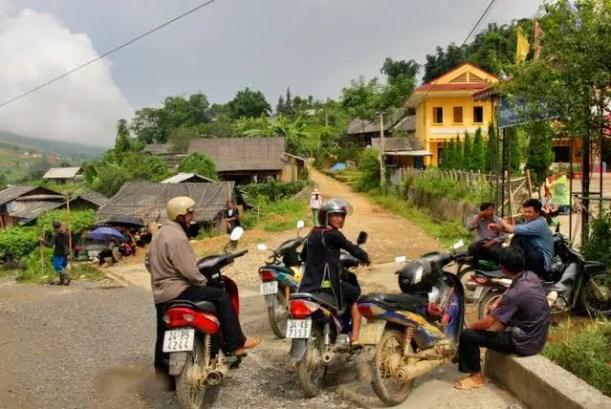 Hmong men on motorbikes, Tavan village sapa valley, hmong village sapa, hmong culture