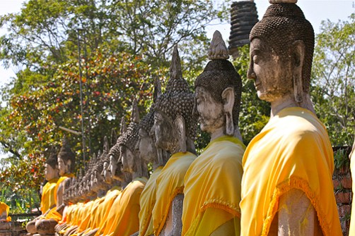 line of buddhas, ayutthaya, ayuthaya vs sukhothai, ayutthaya sightseeing, ayutthaya attractions, best ayutthaya temples, famous thailand temples