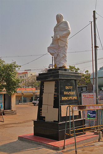 covered political statue