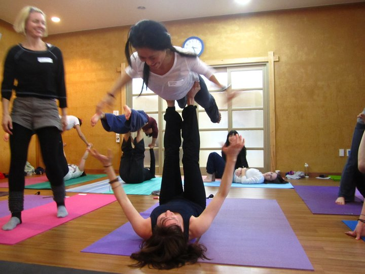 At a retreat workshop in Muju, South Korea, sampling other forms of yoga